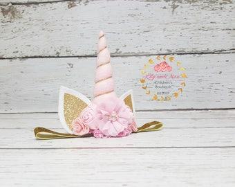 Pink and gold Unicorn headband, Unicorn headband, unicorn party headband, gold glitter elastic unicorn headband, peachy pink gold unicorn