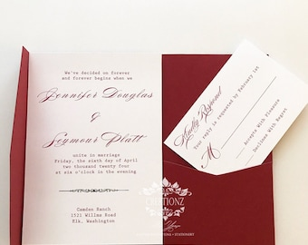 Classic Red and White Wedding Invitation