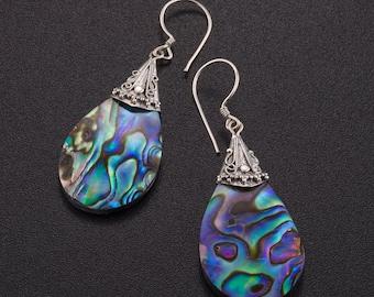 Abalone sterling silver earrings. Abalone jewelry. paua earrings. ocean earrings.