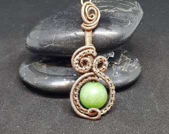 Jade copper wire wrap pendant, spherical bead, wire weaving, gemstone, necklace.