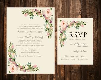 Vintage Floral Wedding Invitations; Blush Floral Wedding Invitations; Watercolor Floral Wedding Invitations; Ivory