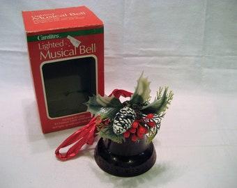 Carolites Lighted, Musical Christmas Bell Vintage 1980s 8 Christmas Carols, Red Plastic Bell, Christmas Decor