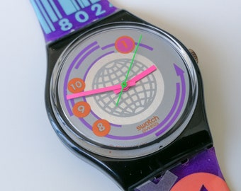 """Swatch GB143 """"EAN Code"""" - NOS - 1992 - With box and papers"""
