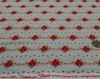 Farmhouse Floral Stripe (C6882) by Nancy Zieman sold by the yard