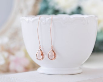 Rose Gold Peach Champagne Earrings, Rose Gold Wedding Bridal Earrings, Peach Wedding Jewelry, Bridal Party Bridesmaid Gift, Gift for Her