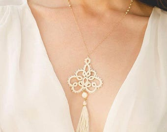Statement Tatted Necklace • Bohemian Chic Necklace • Lace Tassel Necklace • Wedding Necklace •