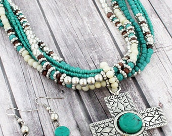 Silver & Turquoise Bead and Cross Necklace and Earring Set