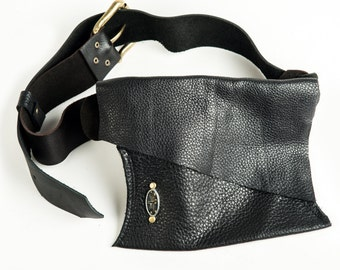 Black Leather Hip Bag - Shi Pocket Belts - One of a Kind