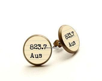 Jane Austen Earrings, Bookish Gift - 823.7 Dewey Decimal Jewelry, Library Card Catalog Earrings, Librarian Gift, Gifts For Writers
