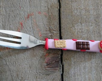 small fork gourmet pink polymer clay