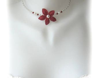Burgundy and ivory necklace zoe collection child has child jewelry, bridesmaid
