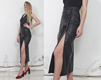 90s black leather pleated slit snap maxi skirt s m