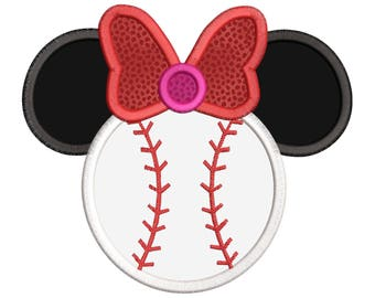 Disney Mickey baseball Applique Embroidery Design - Instant Download
