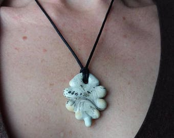 Sale 25 percent off Ivory Glass Artifact Pendant with Necklace