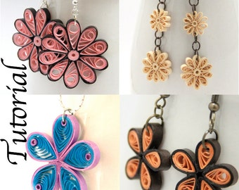 Tutorial for Paper Quilled Jewelry PDF Flower Earrings and Pendant Designs DIY Wedding and Bridesmaid Jewelry