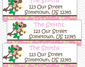Pink Monkey  - Personalized Address labels, Stickers, Baby Shower