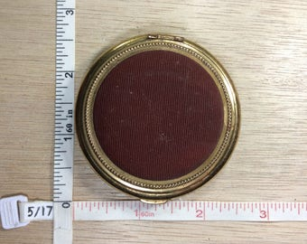 Vintage Gold Toned Burgundy Brown Makeup Compact Some Light Corrosion Used