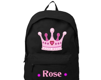Backpack black Crown personalized with name