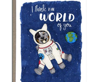 "Australian Cattle Dog, Blue Heeler, Cute Greeting Card, 4x5, ""I Think the World of You"""