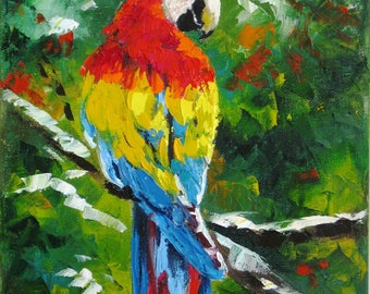 Palette knife Tropical painting decor Bird animal painting on canvas Bird lover gift Tropical wall art oil canvas painting Tropical gift art