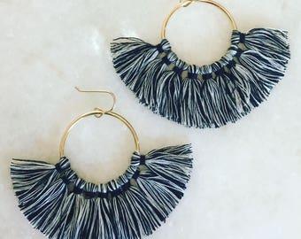 Large Black & White Multi Tassel Earrings On Gold Hoops