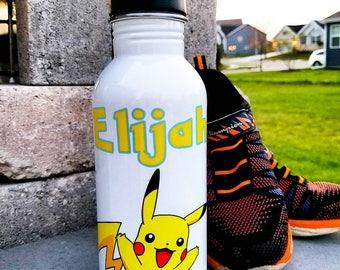 Custom Pokemon Kid Water Bottle/Stainless Steel/Straw Lid/Personalized