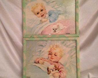 FLORENCE KROGER/Set 2 Florence Kroger Prints/Sweet Dreamer/Vintage Baby Nursery/Nursery Decor/Wake Up Time/1950s Kroger Prints