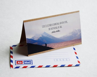 Adventure Greeting Card - Ireland Travel Photography, Brown Card with Air Mail Envelope, Blank Card, Life is a Daring Adventure Quote