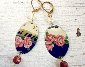 Pendant earrings, vintage tin earrings, rose earrings, vintage earrings, boho earrings, gifts for her.