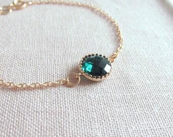 Emerald Green Gold Bracelet, Glass Crystal, Dainty Modern Everyday Jewelry, Petite