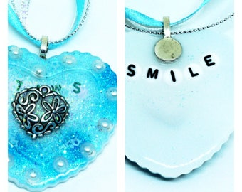 Motivational Resin Necklace, Smile Necklace, Hidden Message Necklace, Heart Necklace, Mental Heath Necklace, Blue Glitter Necklace.