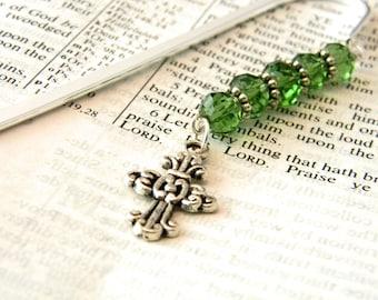 Ornate Cross Bookmark with Green Glass Beads Shepherd Hook Steel Bookmark Silver Color