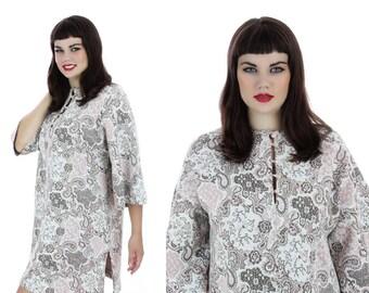 70s Wool Knit Tunic Dress Hippie Bell Sleeves Mod Mini Go-Go Boho Bohemian Babydoll 1960s 1970s 70s Vintage Large L XLarge XL Plus Size