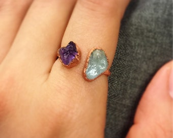 Rough Amethyst, Aquamarine, Electroformed Ring, Purple, Blue, Copper Jewelry, Raw crystal ring, Gemstone Gift
