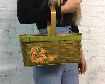 50s mini picnic basket structured box bag with rose details / painted wooden floral handbag / wood and green velvet rose purse