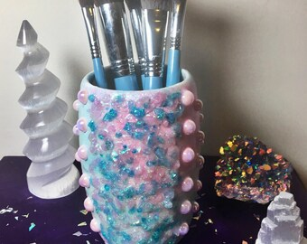 Rose Quartz Blue Topaz Fairy Sparkle Makeup Brush Holder