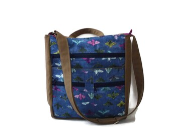 Bee Purse, Large Purse, Crossbody Diaper Bag, Cross Body Tote, Vegan Laptop Bag, Commuter Bag, Blue and Purple Purse, Bee Fabric Bag