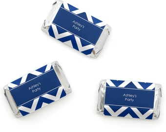 Chevron Navy Mini Candy Bar Wrappers - Personalized Baby, Bridal and Birthday Party Hershey® Miniature Candy Bar Sticker Labels - 20 Ct
