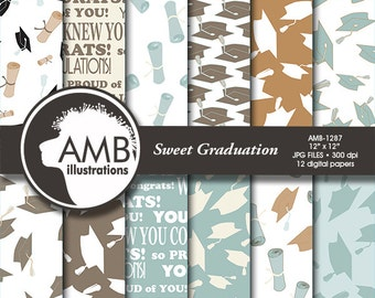 Graduation digital papers, Grad papers, Graduation scrapbook papers, digital patterns, commercial use, AMB-1287