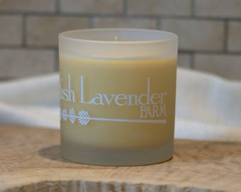 Lavender & Vanilla Essential Oil Soy Wax Candle in Frosted Glass