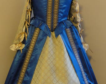 Ready to Ship, Elizabethan Renaissance Gown, Complete outfit - bodice, skirt, sleeves, chemise - blue and gold