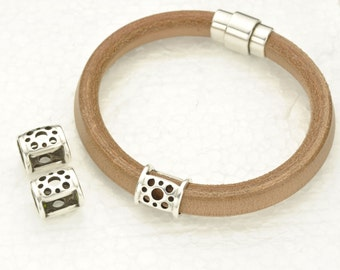 Open Circle Tubes - Antique Silver - fits Licorice Leather - 10x6MM AND Round Leather Cord up to 10MM