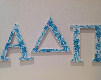 Alpha Delta Pi hand painted Greek letters