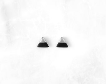 BLACK & SILVER Dipped Triangle Studs / Simple modern geometric jewelry, two tone earrings, lightweight hypoallergenic unique gifts for her