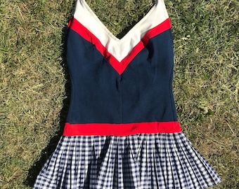 Cheerleader style vintage swimsuit / X Small - Small / Navy blue white red, pleated skirt with squares