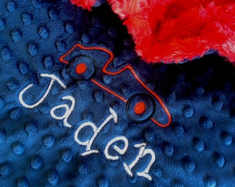Car Baby Blanket Red and Navy Minky blanket personalized blanket