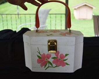 Vintage Hand Painted Wood and Lucite Box Purse Bag Handbag 1960's  Original