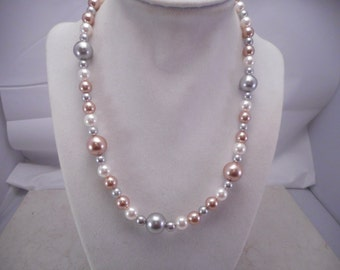 Pearl Necklace made with Multi Colored Faux Pearls 18' with a 3.5 inch Adjustment
