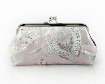 Vintage Japanese Obi Clutch Purse | Dancing Butterfly in gradient grey and silver