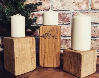 Solid oak rustic candle blocks with 'love birds' engraved